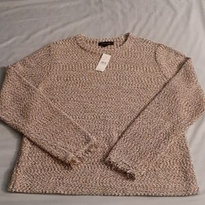 Ann Taylor beige & pink long sleeve  Sweater Large